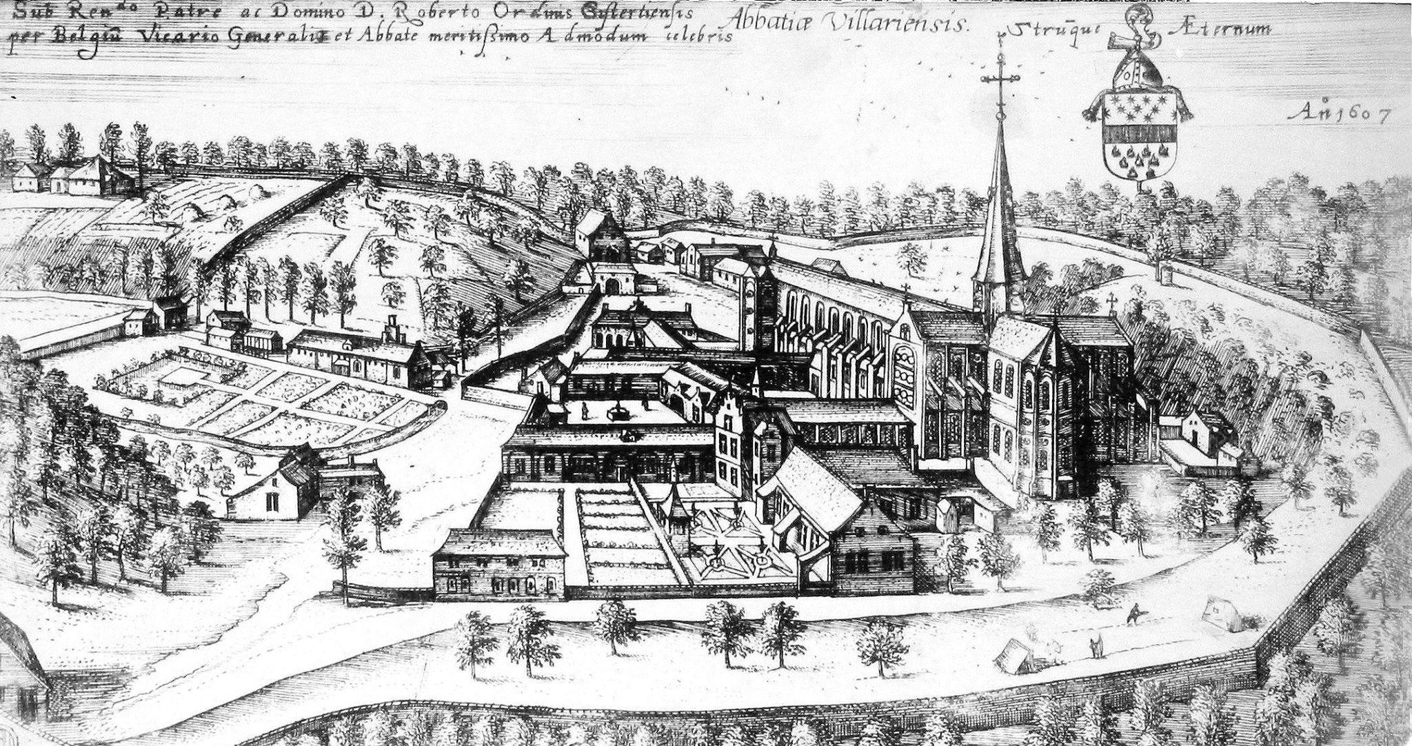 Gravure de 1607 de l'Abbaye de Villers la Ville